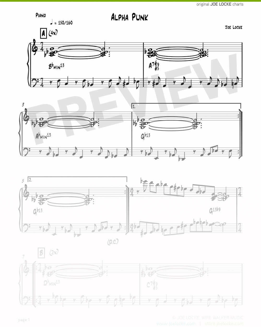 Joe Locke - Alpha Punk sheet music