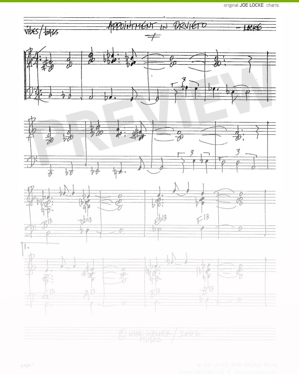 Joe Locke - Appointment in Orvieto sheet music