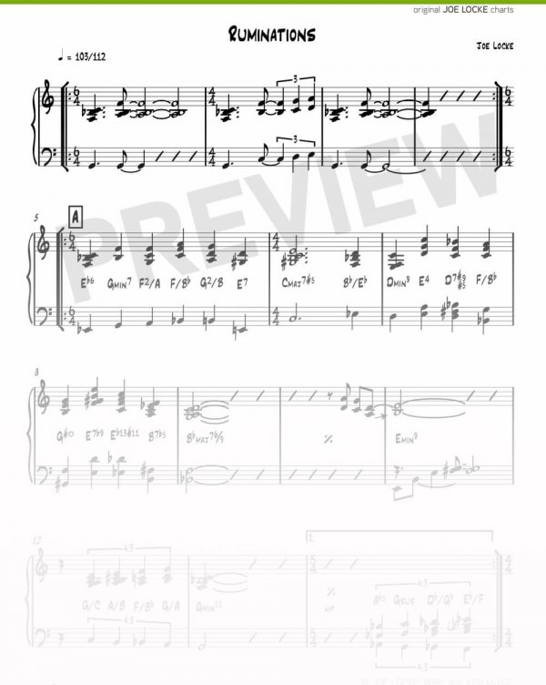 Joe Locke - Ruminations sheet music